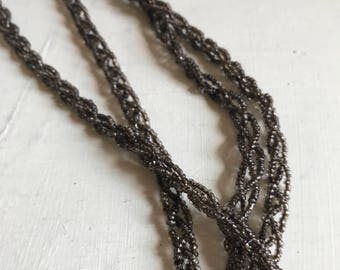 Antique flapper beaded necklace belt lariat  slate lined double braided glass beads