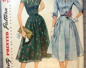 Simplicity 3931 - 1950s Sewing Pattern - One-Piece Softly Shaped Dress