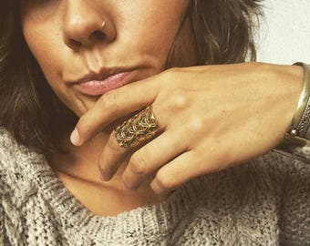 Flower of life Brass Ring, Sacred Geometry Jewelry, Brass Ring, Brass Jewellery, protection jewellery, tribal ring, Tribu, seed of life