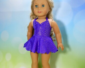 18 inch doll clothes made to fit dolls such as American Girl, Purple with Gold Swirls Two Piece Swimsuit, 05-2107