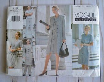 Vogue 2102 Wardrobe Misses' Jacket, Dress, Top, Skirt & Pants Sewing Pattern Size 12-16 UNCUT
