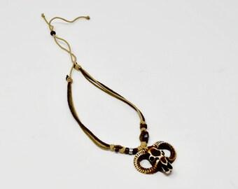 Vintage Longhorn Ram Western Necklace BOHO Style Necklace