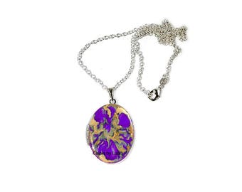 Purple Oval Locket in Hand Painted Orchid Enamel Quartz Inspired on Sterling Silver Chain with Personalized Options