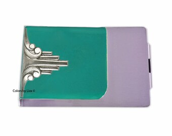 Art Deco Money Clip Wallet Double Sided Designed with Hand Painted Glossy Teal Opaque Enamel with Personalized and Color Options