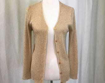 Vintage Koret Gold Metallic Cardigan Sweater M/L