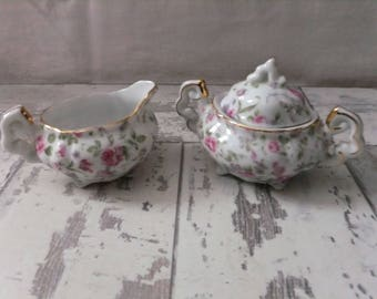 Lefton 7245 Cream and Sugar Set Rose Chintz Pink and White Small Individual Japan Creamer Sugar Bowl with Lid Roses