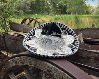 Vintage child's sombrero authentic Mexican Mariachi hat black velvet white thread silver sequins