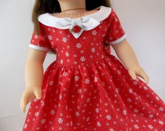 18 inch Doll Dress Fits American Girl Doll  Christmas Holiday Dress Red Snowflake
