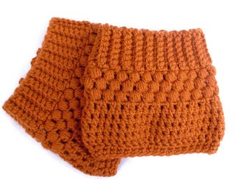 Orange Boot Cuffs, Burnt Orange, Crochet Boot Cuffs, Boot Toppers, Boot Socks, Boot Accessories, Winter Accessories, Hand Crocheted Items