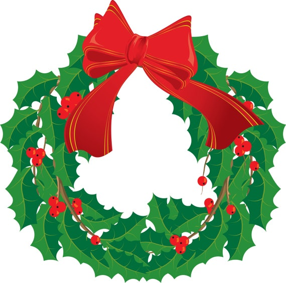 Christmas Wreath 4-Digital ClipArt-Art Clip-Party-Gift