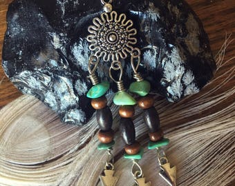 Bohemian Arrows Beaded Dangle Necklace