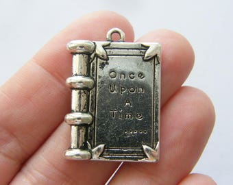 4 Once upon a time ... book pendants antique silver tone PT107