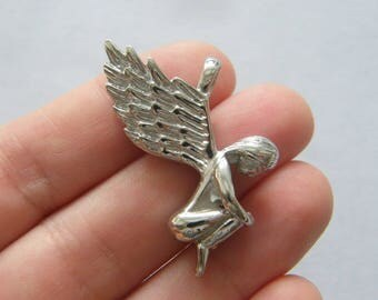 1 Angel pendant  silver tone stainless steel AW14