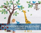 Independence Day Sale - Tree with Monkeys Giraffe and Birds Wall Decals - Baby Nursery Wall Decals