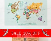 Summer Sale - World Map Decal, Countries of the World Map, Kids Country World Map Poster,  Peel and Stick  Poster Sticker, World Map W1126