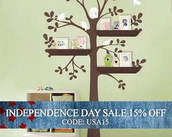 Independence Day Sale - ORIGINAL Shelving Tree with Birds - LARGE  Kids Vinyl Wall Sticker Decals