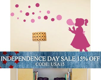 Independence Day Sale - Bubble Girl Decal - Children's Vinyl Wall Sticker