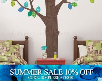 Wall Decal Trees, Pattern Tree with Leaves Ceiling Style - Peel and Stick Repositionable Stickers