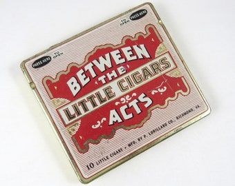 Vintage Cigar Tin, Between the Acts Little Cigars, Hinged, Empty Metal Container, Lorillard Co., Small Smokes for Theater, Opera