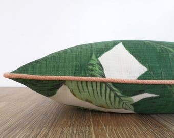 Green palm leaf pillow cover Hollywood Regency Decor,  banana leaf cushion case Beverly Hills Decor, green and blush outdoor pillow piping