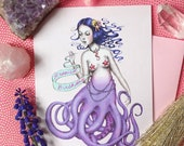 "Happiest Birthday! Octomermaid - blank greeting card 4 1/4"" x 5 1/2"" by Marybel Martin"