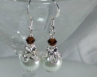 White Pearl and Crystal Topaz Bridesmaid Earrings