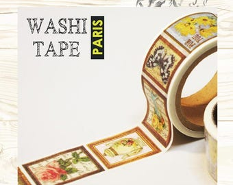 Antique masking tape - Flowers in the frame -  25mmW - Washi