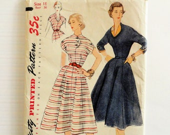 1950s Dress pattern, 8 gore full skirt, wasp waist, afternoon dress, uncut vintage sewing pattern, Simplicity 3947, misses size 18, bust 36