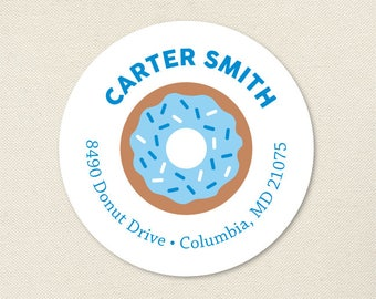 Blue Donut Address Labels - Sheet of 24