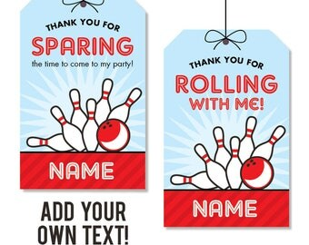 INSTANT DOWNLOAD Bowling Party Favor Tags - EDITABLE printable birthday party favor tags