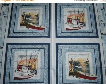 On Sale 4 Fishing-Boat, Tugboat-Springs Industries Sea Bound Fabric Panels-Quilt Squares D Morgan