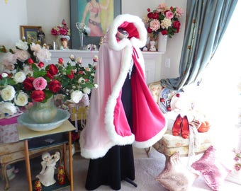 Sleeping Beauty Princess Bridal Cape Pinkish-Red (Cerise)/ Pink Satin 37-inch wedding cloak  Reversible Hooded with fur trim Handmade in USA