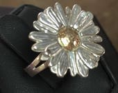 P.E.O. Marguerite Daisy Ring in Sterling and solid 10k Gold Custom Sizes