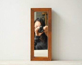 Vintage Wood Mirror, Wooden Wall Mirror, Small Mirror