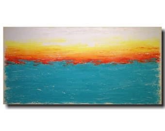 Art Large Abstract painting - original 24 X 48 - JMJartstudio- Waiting-Wall art-wall decor - blue gift sale