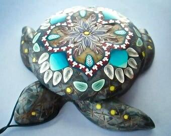Sea Turtle Box, Black Marble Pillbox, Mandala Decor, Custom Box, Turtle Sculpture,  Wearable Art, Home Decor, Polymer Clay Pill Box