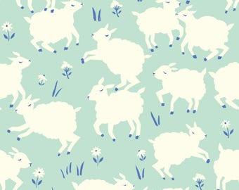 Mint Little Lambs Knit Fabric- Fabric by the Yard- Birch Fabrics- Cotton Knit- Organic Fabric- Animal Fabric- Farm Themed Fabric- Mint Knit
