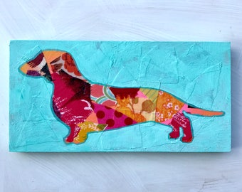 Dachshund Silhouette Mixed Media Original Painting Gifts Under 100 Gifts for Dachshund Lover Home Decor Gifts for Her Gifts for Dog Lover