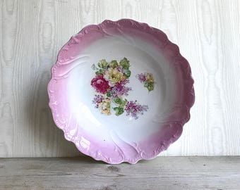 Vintage Ceramic Bowl Shabby Chic Cottage Pink Cabbage Roses Lilacs Victorian