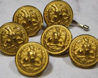 US Navy Uniform Brass Buttons 6 Brass Waterbury Company Military Buttons