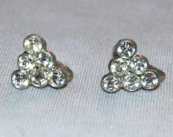 Vintage / Sparkling / Clear / Rhinestone / Earrings / Screw Back / old jewelry