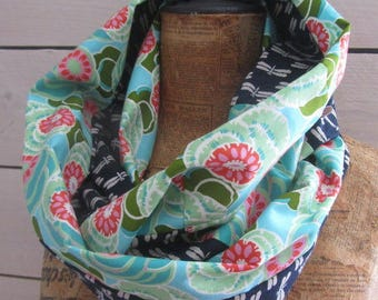 """New snood summer 2017-cotton snood and indigo linen """"Dragonfly"""" and """"green kiwi"""" - Japanese fabric"""