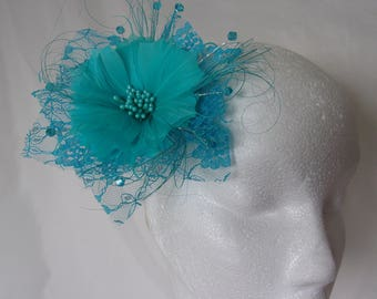 Turquoise Lagoon Blue Feather Flower Lace and Crystal Vintage Wedding Bridal Hair Comb Fascinator Headpiece - Ready Made