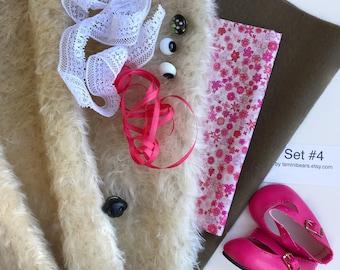 German mohair fabric, glass eyes, cotton batiste fabric liberty of london tana lawn, silk ribbon, french lace, wool felt, doll shoes, set #4