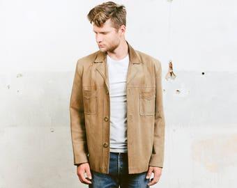 Indiana Jones Jacket . Leather Suede Blazer Jacket Mens Beige Outerwear Vintage Western Coat 1980s Outerwear 80s Jacket . size Large