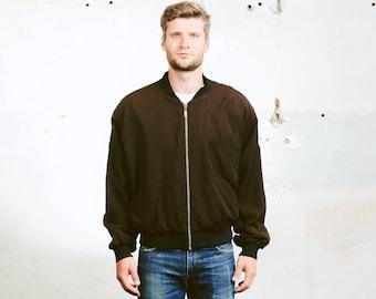 Men Bomber Jacket . Vintage Brown Bomber Short Coat Outerwear Hipster Outfit Boyfriend Gift Retro Bomber Jacket . size Large