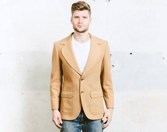 Men's Camel Brown Blazer . Wool Sport Coat Jacket 1970s Retro Blazer Wool Jacket Suit Jacket . size Small