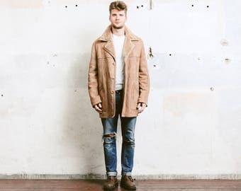 Men's Shearling Coat . Vintage 70s Sheepskin Sherpa Jacket Winter Leather Beige Fur Overcoat Outerwear Long Jacket . size  Extra Large XL