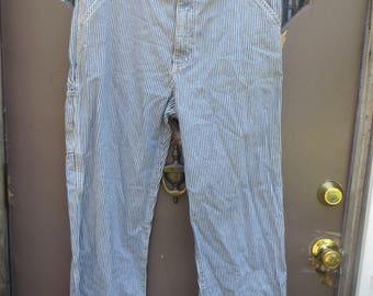 Vintage 90s GAP striped Denim Carpenter  Wide LEG Grunge Rave Skater Hip-Hop  Baggy High- Waist Jeans Pants sz 16