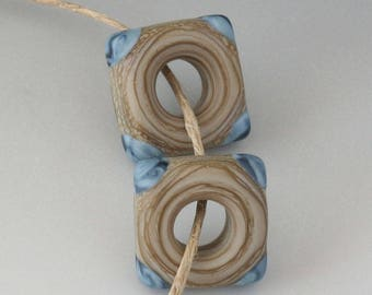 Southwest Disk Square Pair- (2) Handmade Lampwork Beads - Denim and Brown - Etched, Matte